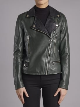 Granger Green Leather Biker Jacket