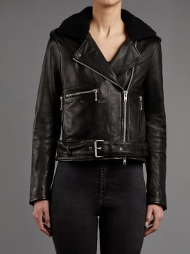 Guilia Leather & Shearling Collar Biker Jacket in Black