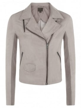 Gulrro Grey Leather Biker Jacket