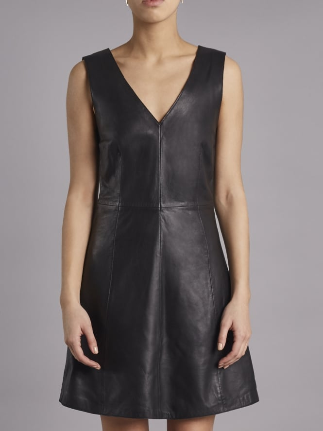 Handley Black Leather V-Neck Dress