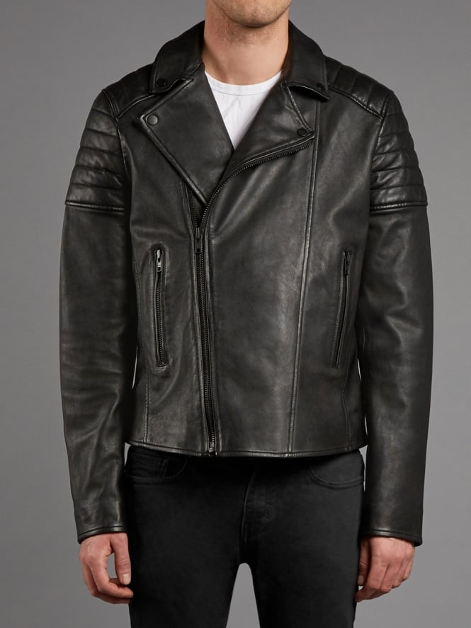 Hansa Leather Biker Jacket in Black