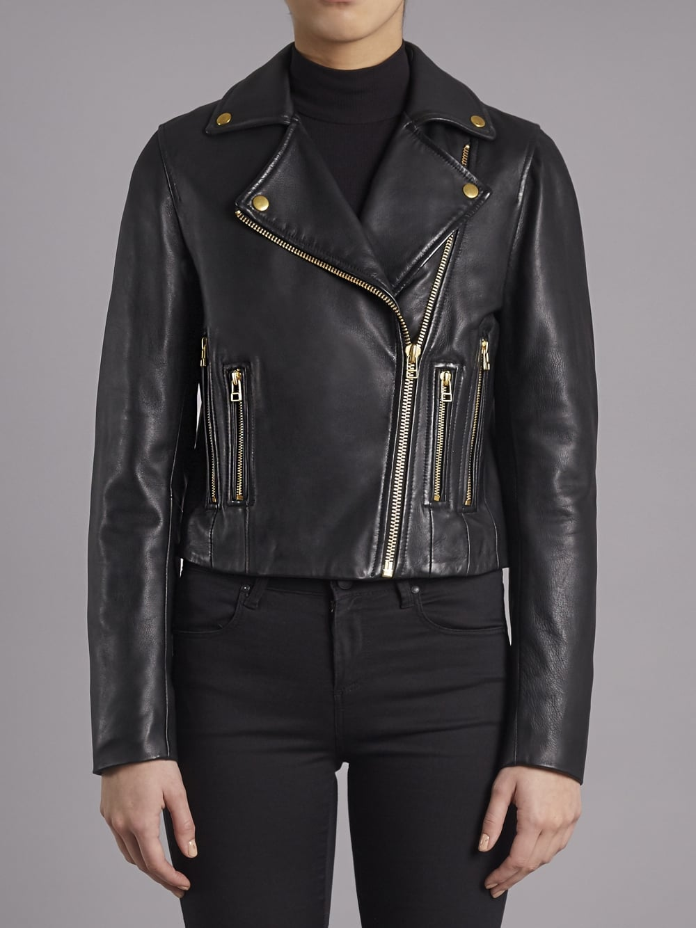 Muubaa Harrier Black Leather Biker Jacket