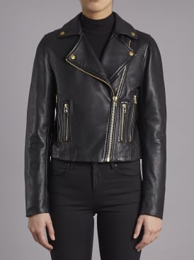 Harrier Black Leather Biker Jacket