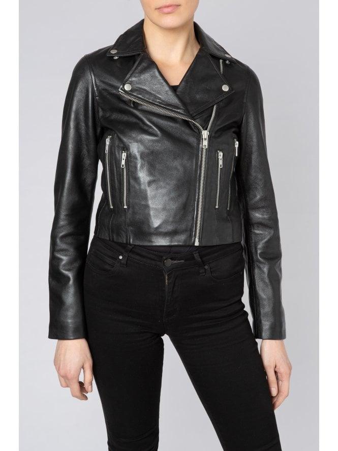 Harrier Black Leather Cropped Biker Jacket