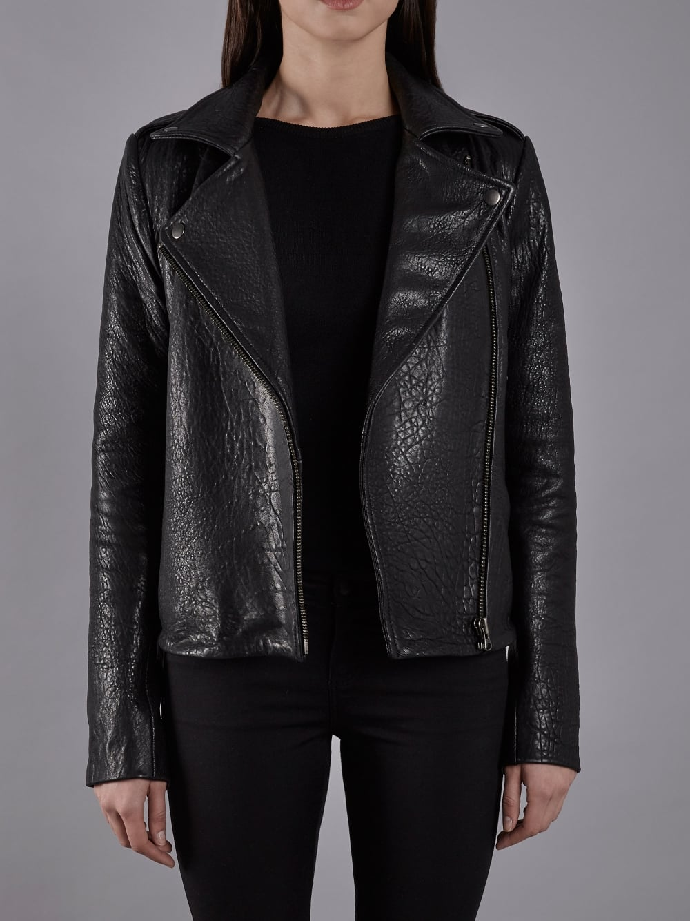 0e3edc642 Muubaa Healey Black Bubble Leather Biker Jacket