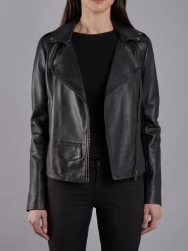Healey Black Leather Biker Jacket