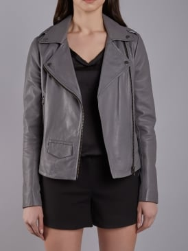 Healey Charcoal Leather Biker Jacket