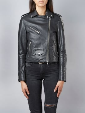 Healy Chain Black Biker Leather Jacket