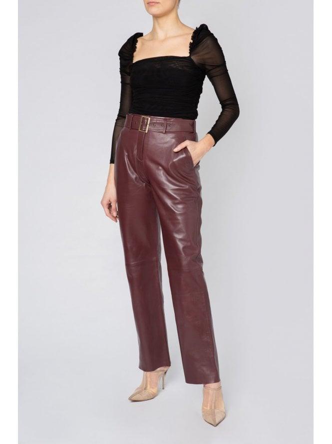High Waist Belted Straight Leg Trousers