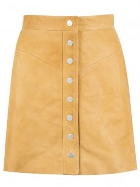 Holland Tan Leather Mini Skirt