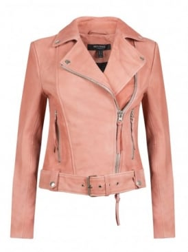 Holmedale Pink Leather Biker Jacket