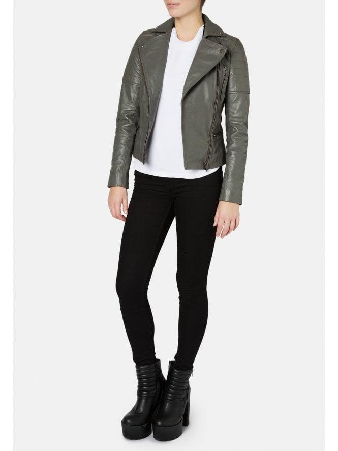 Hudson Dark Grey Biker Jacket