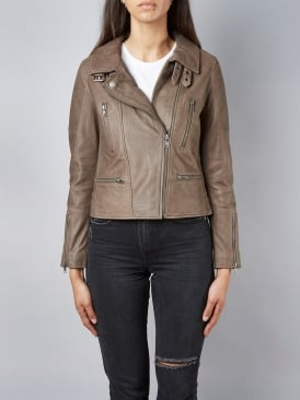 Hudsonian Mink Biker Leather Jacket