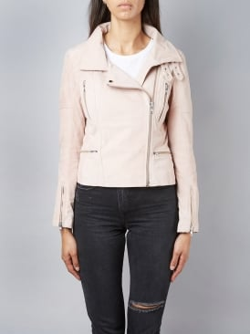 Hudsonian Suede Rose Water Biker Jacket