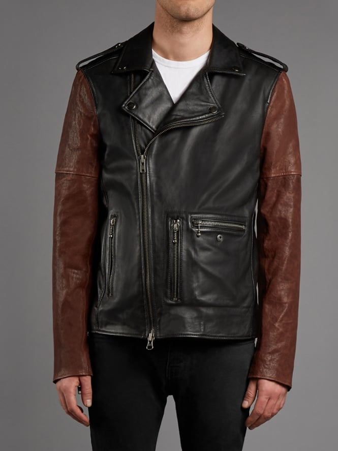 Humber Leather Biker Jacket in Black & Red