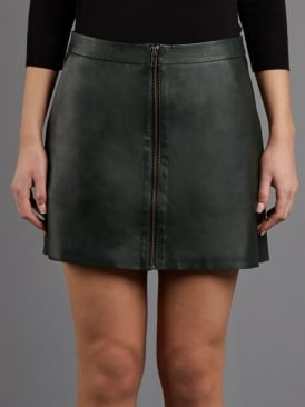 Impala A-Line Army Grey Leather Mini Skirt