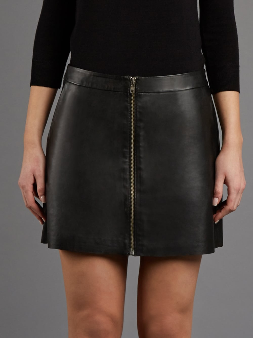 e46f12065 Impala A-Line Black Leather Mini Skirt