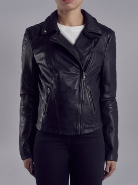 Indus Black Leather Biker Jacket