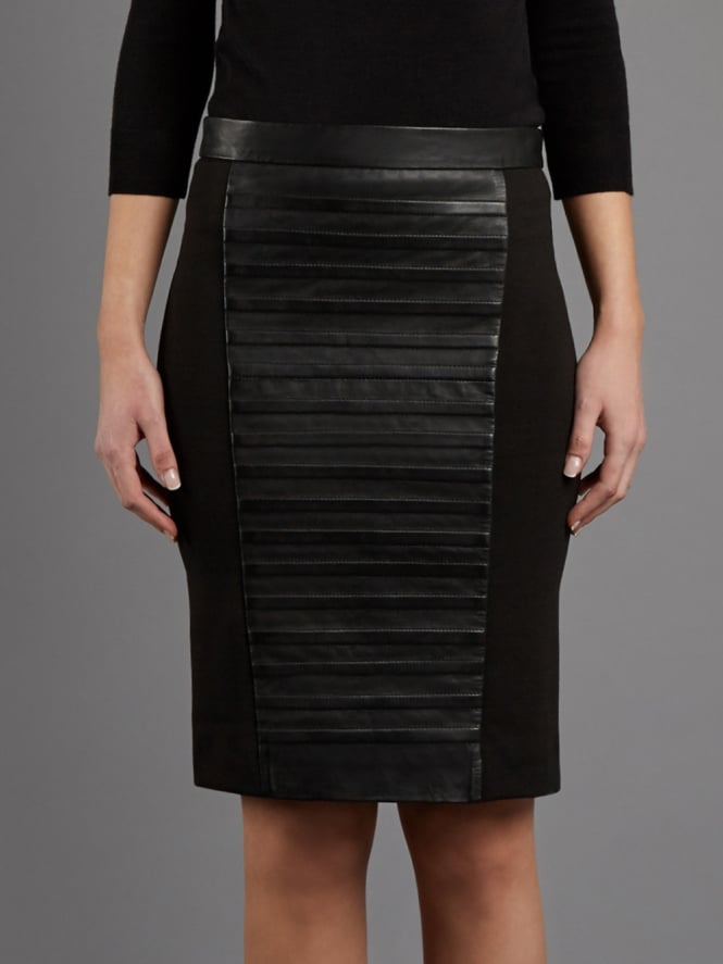 Isotta Black Leather Body Con Skirt