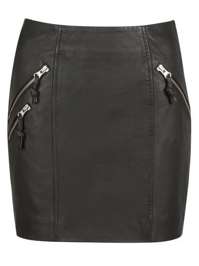 Iverna Black Leather Mini Skirt
