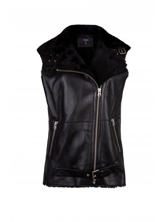 Izzy Leather Finish Shearling L/Line Gilet