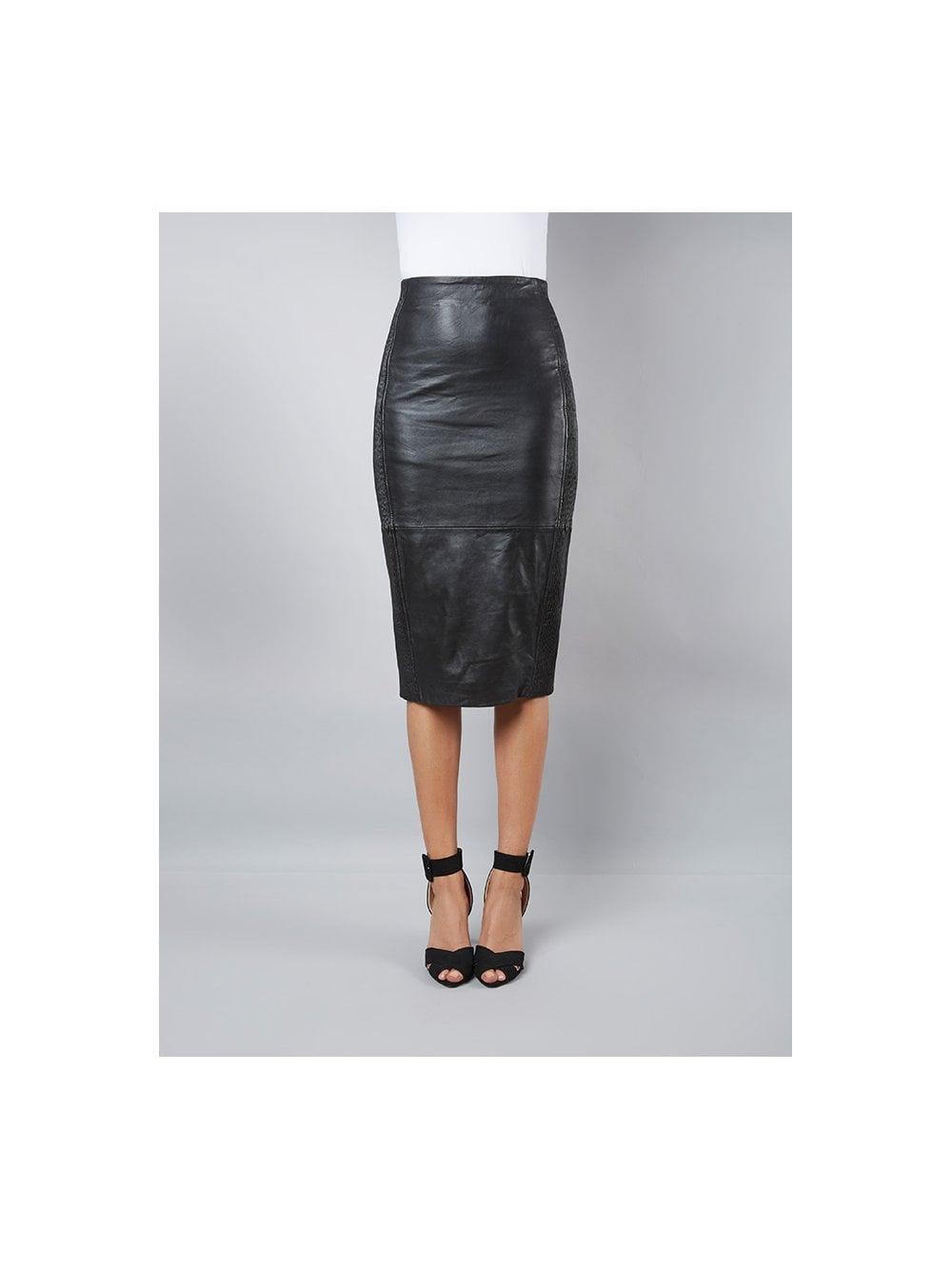 a6ca6b49f Jowett Black Leather Pencil Skirt