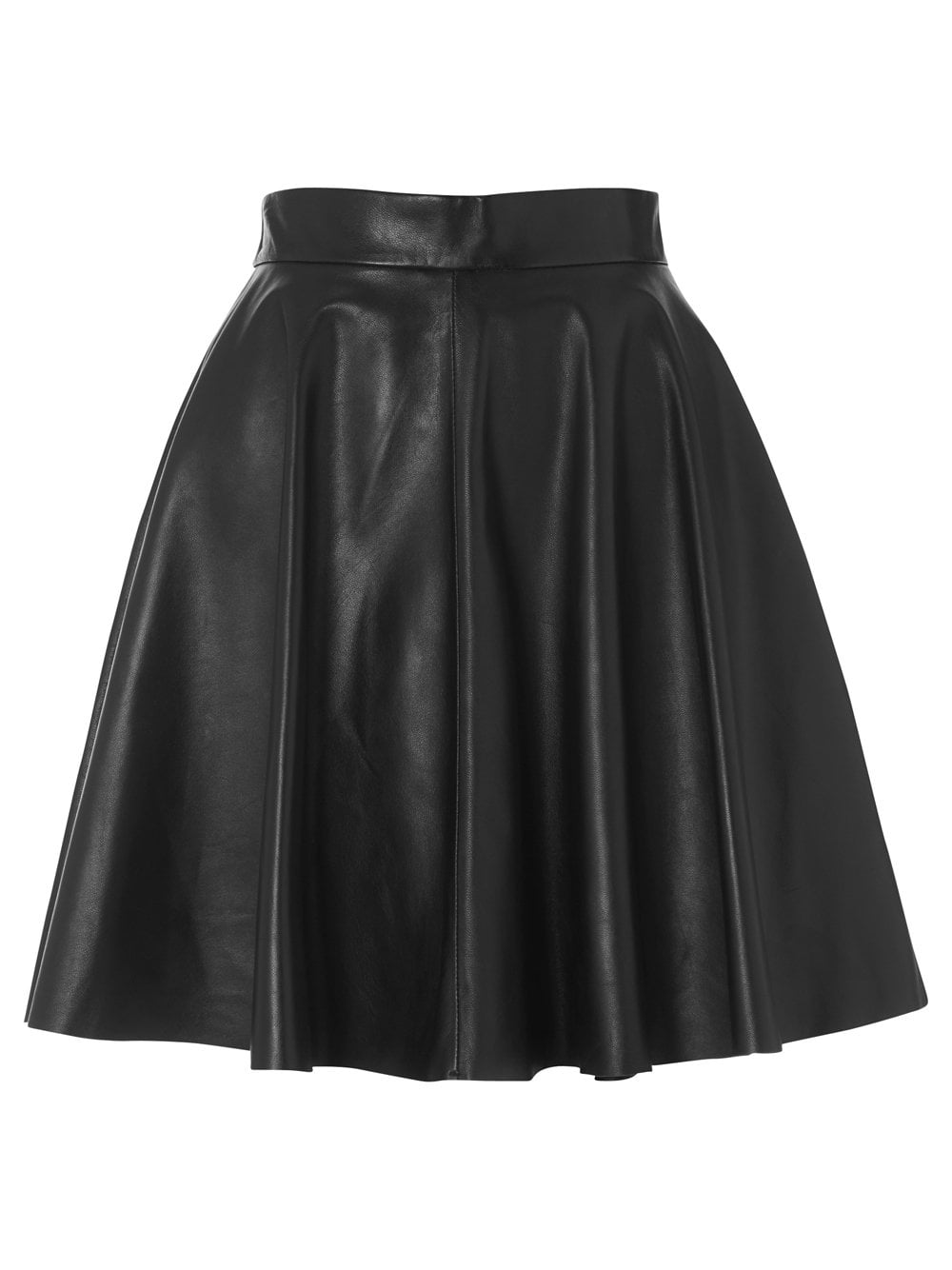 Kahawa Black Leather Flare Skirt