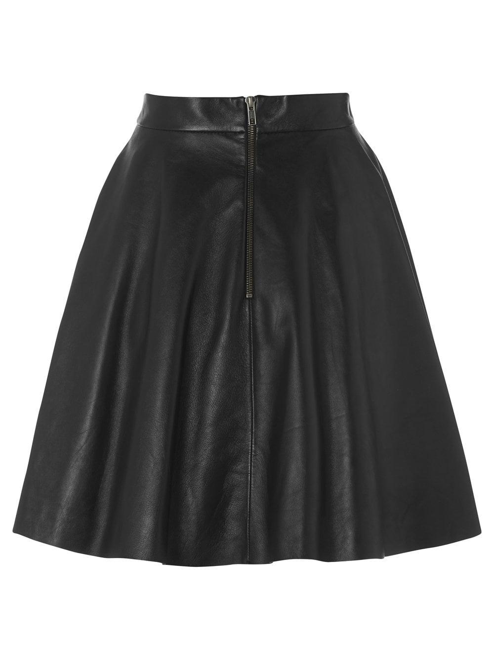 Black Leather Flare Skirt