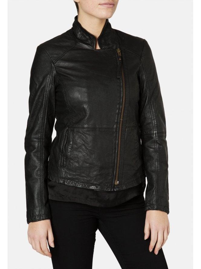 Kendyll Leather Biker Jacket in Black
