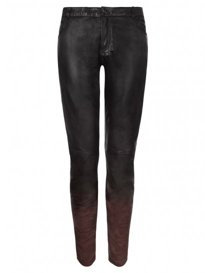 Kirin Leather Ombre Skinny Trousers in Redwood