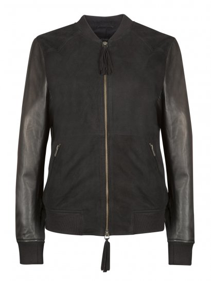 Kirkwood Black Suede & Leather Bomber Jacket