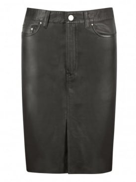 Lambeth Black Leather Denim Pencil Skirt