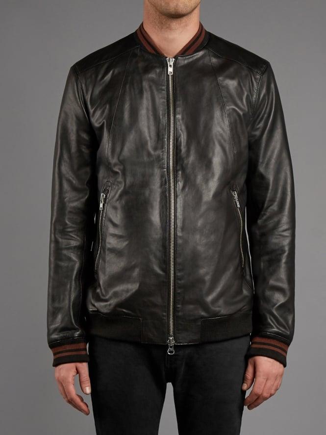Lammas Leather Bomber Jacket in Black