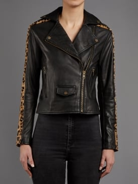 Laurel Leopard and Black Leather Biker Jacket