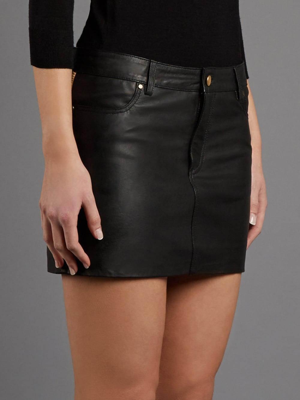 elegant appearance later release info on Lele Leopard Print and Black Leather Mini Skirt