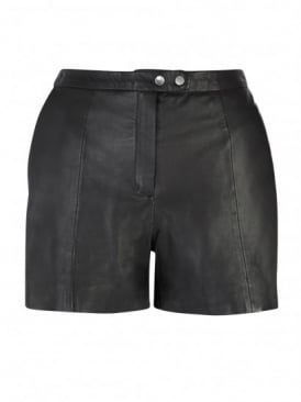 Lena Black Leather Shorts