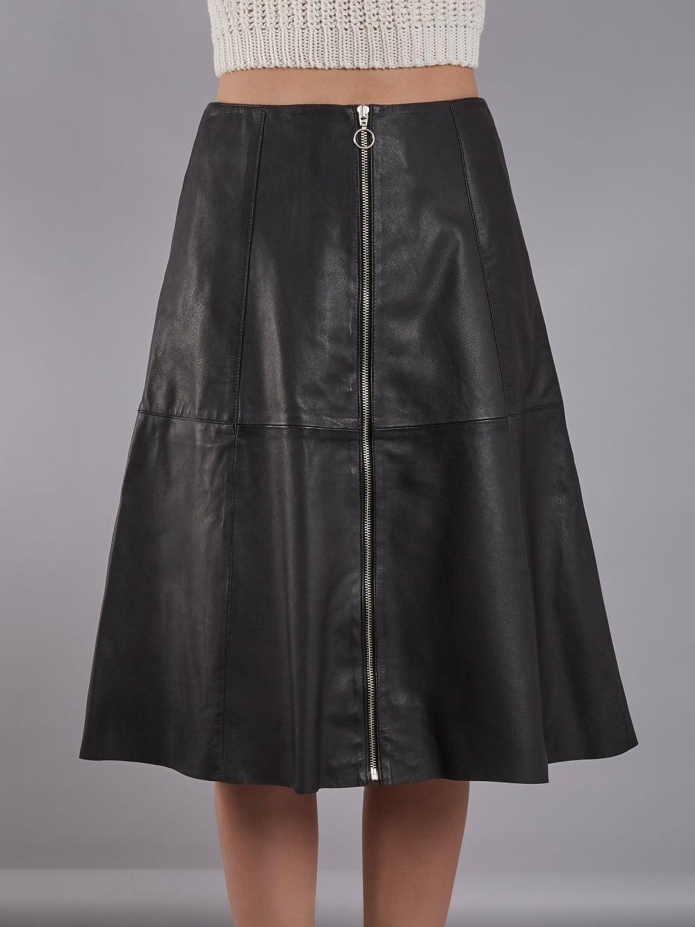 59e8b37c6 Muubaa Lotus Black Leather Midi Skirt