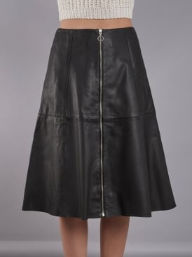 Lotus Black Leather Midi Skirt