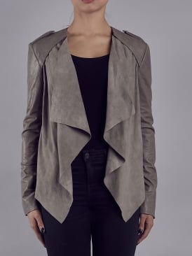Lupus Cement Grey Leather-Suede Drape Biker Jacket