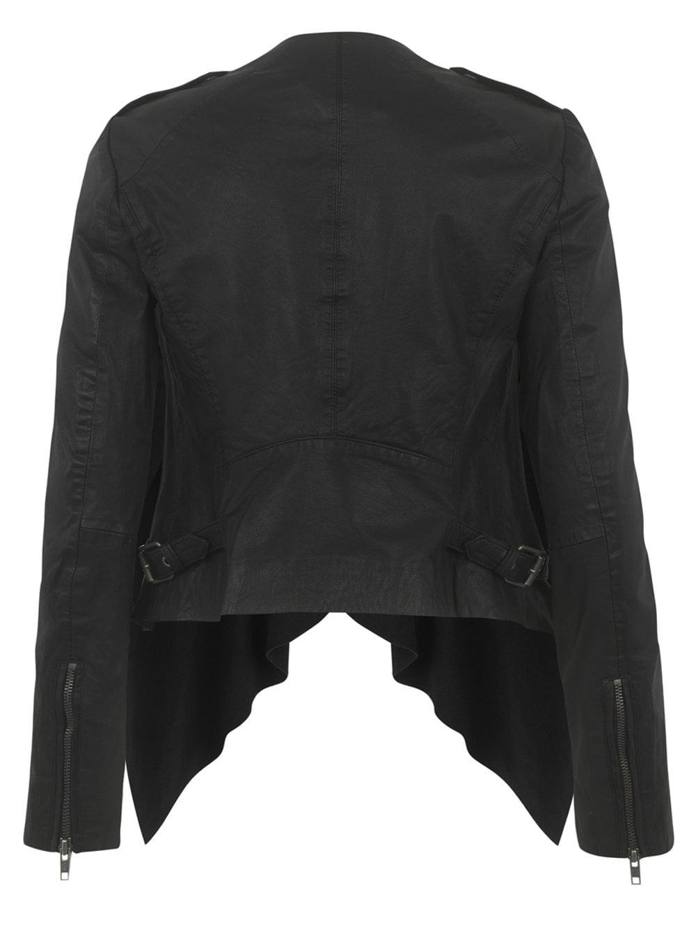 Lupus Leather-Suede Drape Biker Jacket in Black