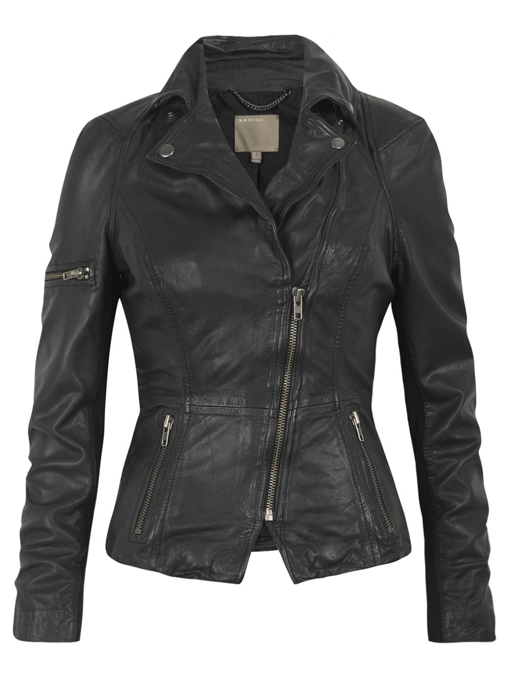 Muubaa Lyra Black Leather Biker Jacket