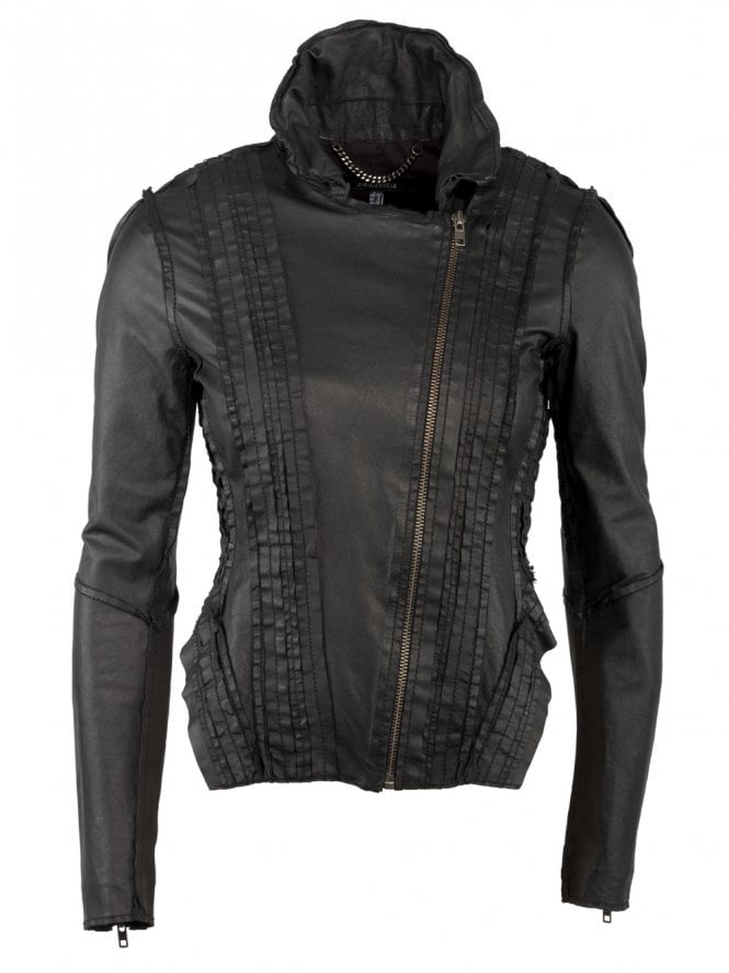 Marieta Laced Leather Jacket in Black