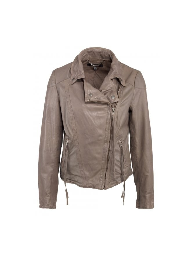 Meggie Leather Biker Jacket in Dusky Grey