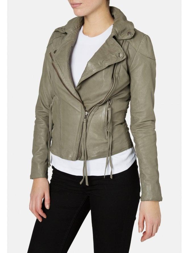 Meggie Leather Biker Jacket in Grey