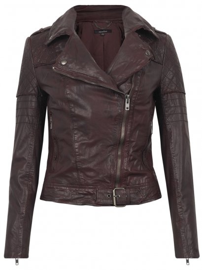 Minsk Leather Quilted Biker in Berry