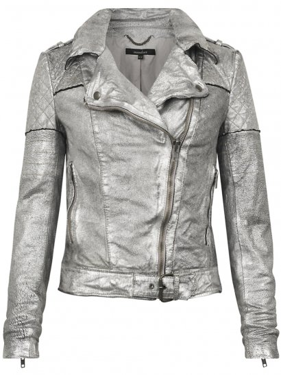 Minsk Suede Quilted Biker in Silver