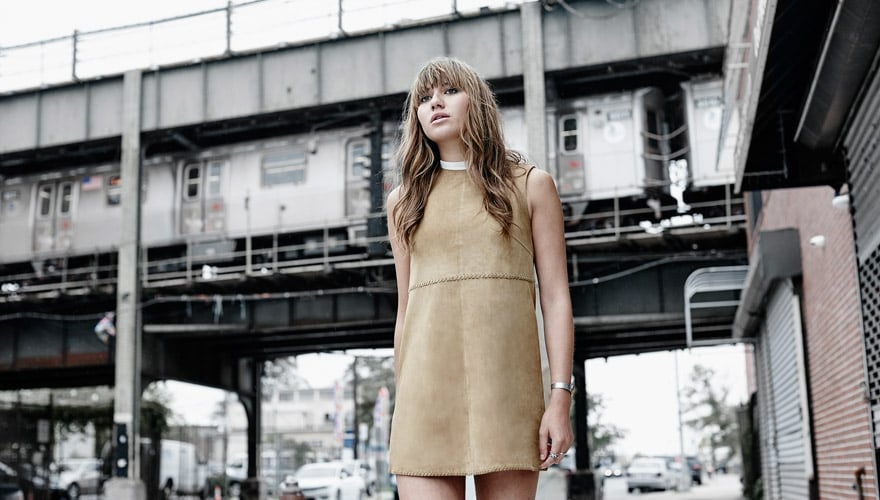 Emden sand suede mini shift dress