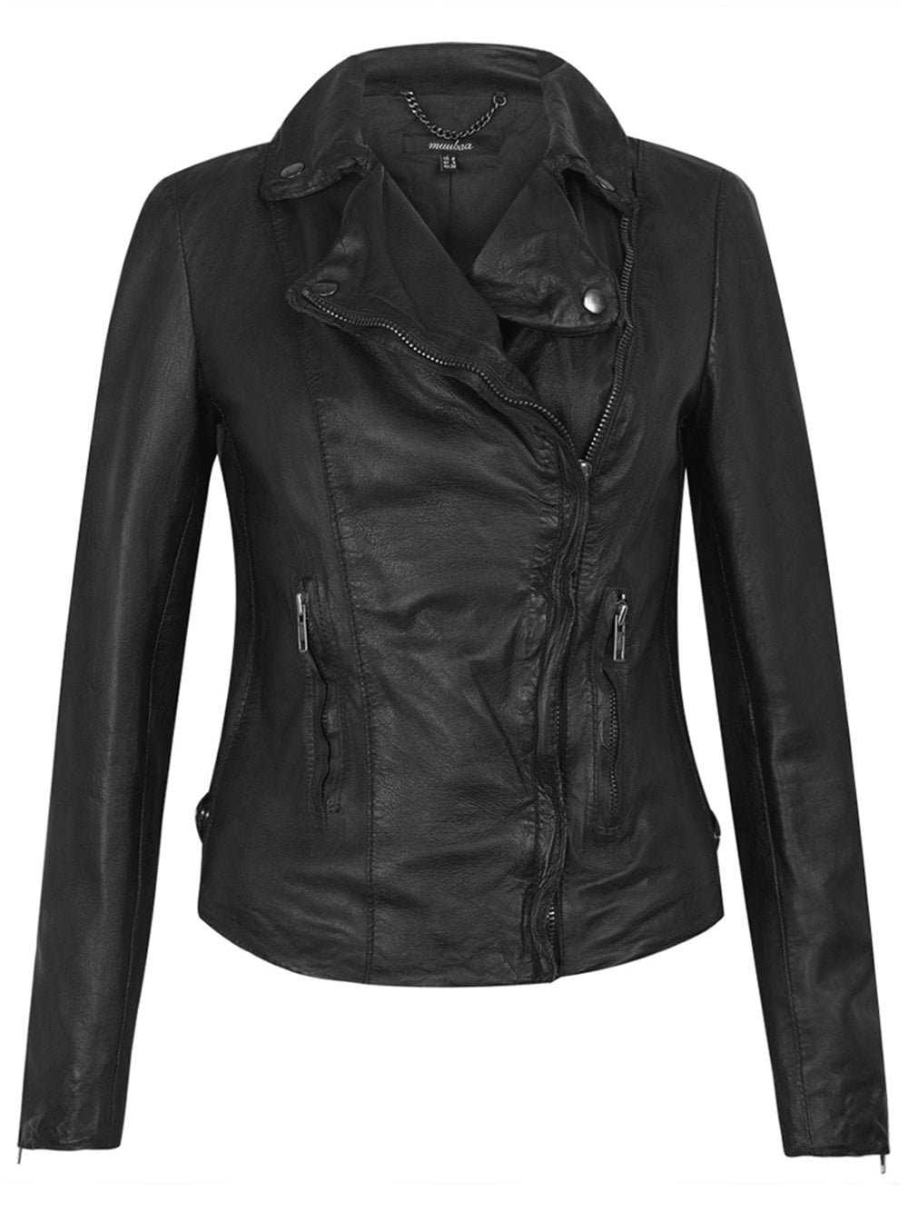 3dc9b41a06669c Muubaa Monteria Black Leather Biker Jacket