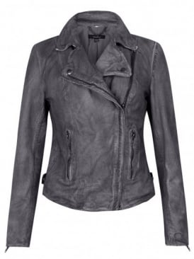 Monteria Leather Biker Jacket in Charcoal Grey