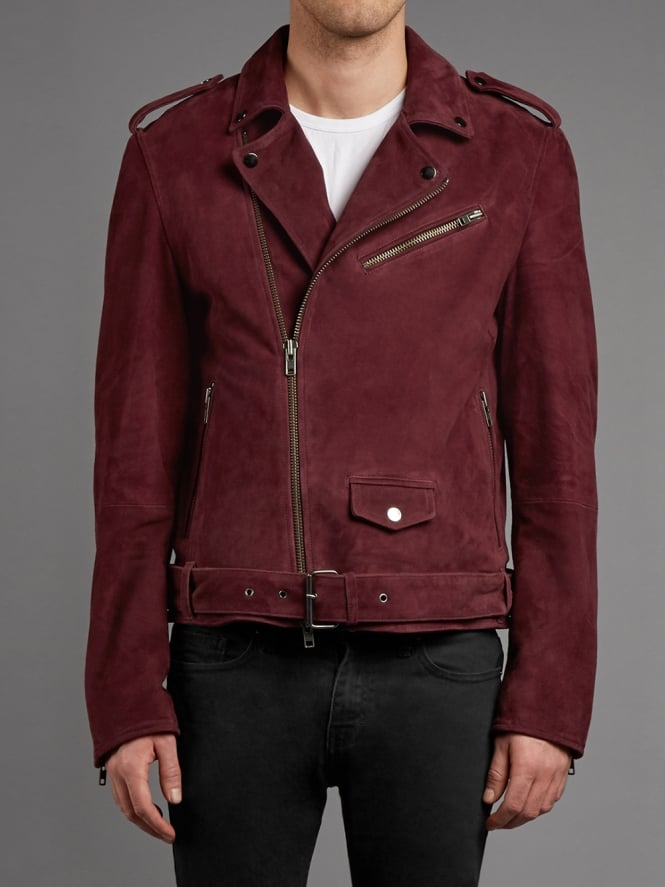 Montrose Suede Biker Jacket in Burgundy